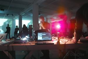 Audio-visual performance at iMAL during the European Sound Delta Festival, 2008